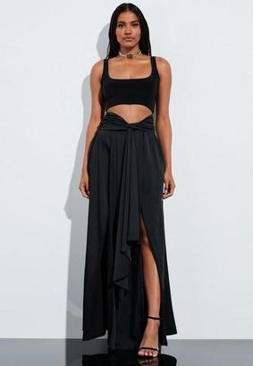 Missguided Black Satin Split Leg Maxi Skirt