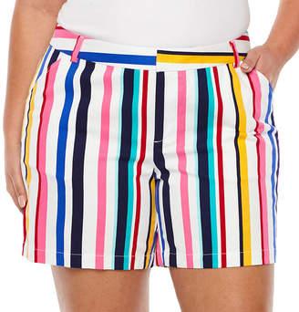 Boutique + + Stripe 7 Twill Shorts - Plus