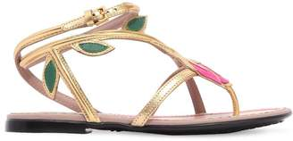 Gucci Flower Metallic Leather Sandals