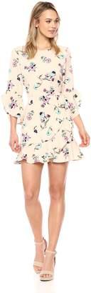 J.o.a. Women's Long Sleeve Faux Wrap Dress with Flared Hem