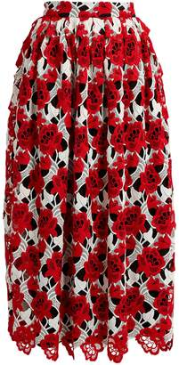 House of Holland Floral-lace midi skirt