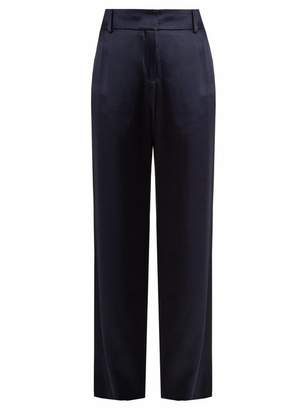 Sies Marjan - Tatum Straight Leg Duchess Satin Trousers - Womens - Navy