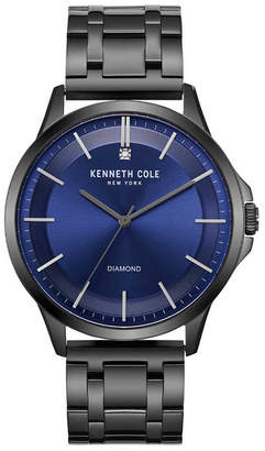 Kenneth Cole New York Men's Diamond-Accent Gunmetal Stainless Steel Bracelet Watch 44mm