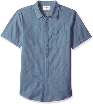 Billabong Men's Sundays Jacquard Short Sleeve Shirt, Grey Heather, M