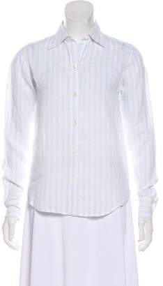 Brooks Brothers Linen Striped Button-Up Top
