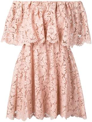 Valentino floral lace off-shoulder dress