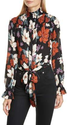 Nicholas Floral Print Smocked Tie Waist Silk Top