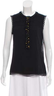 Tory Burch Pleated Bead Embellished Blouse