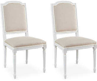 One Kings Lane Flax Linen Louis Side Chairs - Set of 2