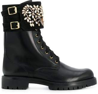 Rene Caovilla embellished cargo boots