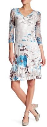 KOMAROV 3/4 Length Sleeve Lace V-Neck Dress $272 thestylecure.com