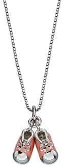 D For Diamond Rhodium-Plated Baby Booties Pendant Necklace
