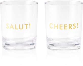 Kate Spade Raise a Glass Collection Here's To You Salut!/Cheers! Acrylic Tumblers, Set Of 2