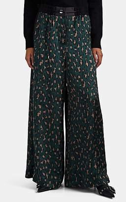 Sacai Women's Leopard-Print Satin Wide-Leg Pants - Grn. Pat.