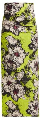 Miu Miu - Floral Print Silk Blend Cloqué Pencil Skirt - Womens - Green Print