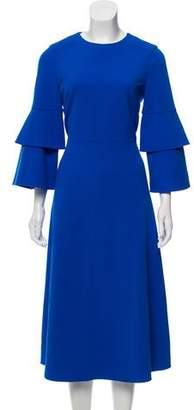 Tibi Flared-Sleeves Midi Dress