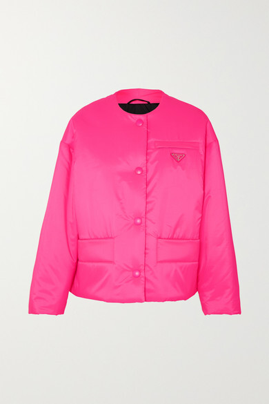 Leather-trimmed Neon Quilted Shell Jacket - Pink
