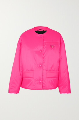 Prada Leather-trimmed Neon Quilted Shell Jacket