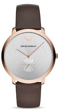 Giorgio Armani Textured Silver-Tone Dial Watch, 42mm