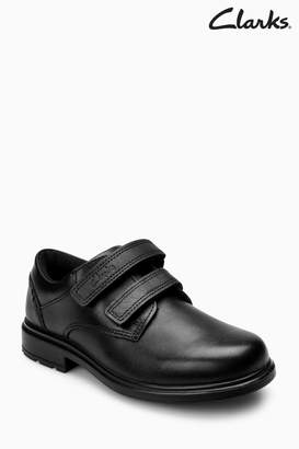 Next Boys Clarks Kids Black Leather Remi Pace Velcro Shoe