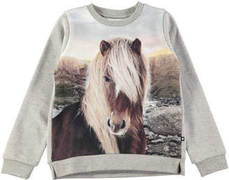 Molo Marlee Long-Sleeve Horse-Print Sweatshirt, Size 3-10