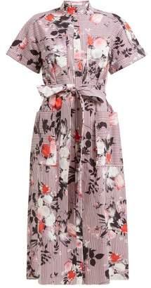 Erdem Carlita Isabelle Print Cotton Shirtdress - Womens - Burgundy Print
