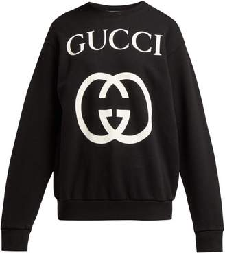 Gucci Gg Print Cotton Sweatshirt - Womens - Black Multi