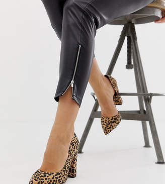 Walter Asos Design ASOS DESIGN Wide Fit d'orsay high heels in Leopard print