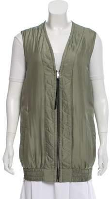 Rag & Bone Silk Zipper-Accented Vest
