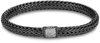John Hardy Blackened Sterling Silver Classic Chain Pavé Diamond Bracelet