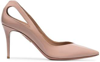 Aquazzura nude shiva 85 patent leather pumps