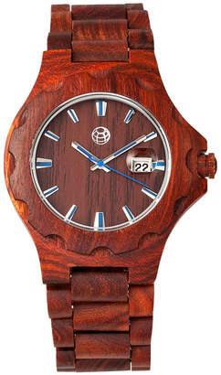 Earth Wood Gila Wood Bracelet Watch W/Magnified Date Red 43Mm