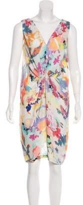 Megan Park Silk Printed Midi Dress