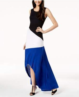 INC International Concepts I.N.C. Colorblocked High-Low Maxi Dress, Created for Macy's
