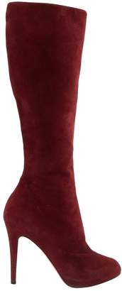Christian Louboutin Vintage Burgundy Suede Boots