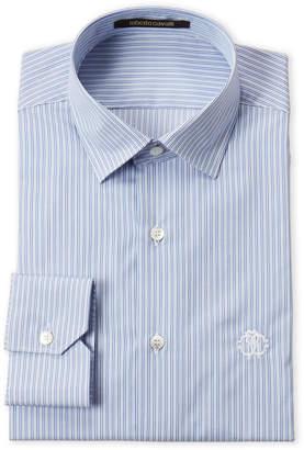 Roberto Cavalli Blue Stripe Dress Shirt