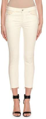 Alexander McQueen Two-Tone Patched Kickback Cropped Jeans, Ecru