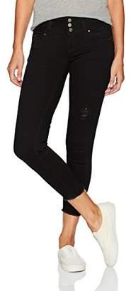 YMI Jeanswear Women's Wannabettabutt Triple Button Wide Waist Fray Anklet