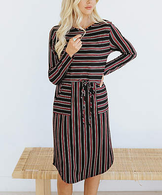 Wine Stripe Tie-Waist Chantelle Dress - Women