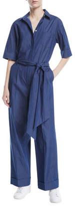Loro Piana Button-Down Wide-Leg Denim Jumpsuit