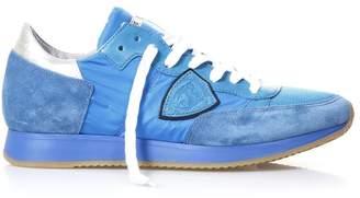 Philippe Model Cobalt Blu Suede And Nylon Tropez Neon Sneakers