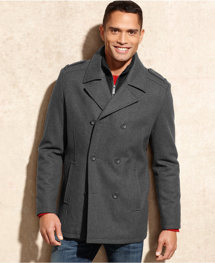 Kenneth Cole Reaction Coat, Knit Bib Wool-Blend Peacoat