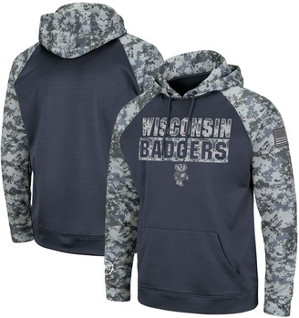 Colosseum Men's Charcoal/Camo Wisconsin Badgers OHT Military Appreciation Digi Camo Raglan Pullover Hoodie