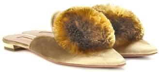 Aquazzura Exclusive to mytheresa.com Powder Puff velvet slippers