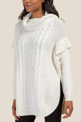 francesca's Jenna Cable Knit Long Sleeve Poncho - Pearl