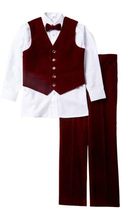 Isaac Mizrahi 4-Piece Velvet Vest Set (Big Boys)