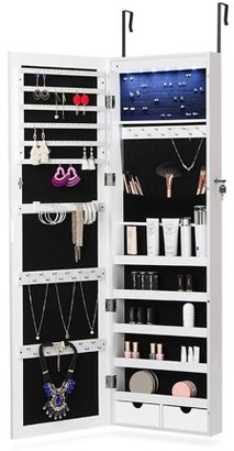 NEX LED Door Mounted Jewelry Armoire Makeup Storage Organizer with Real Glass Mirror, 2 Drawers- White Color (NX-DA026)