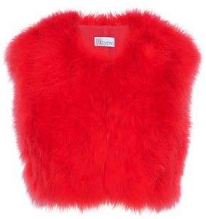 RED Valentino Cropped Feather-Embellished Crepe Vest