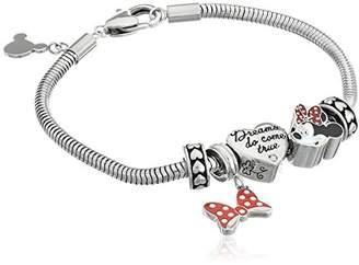 Disney Girls' Minnie Mouse Stainless Steel Bead Bundle Charm Bracelet
