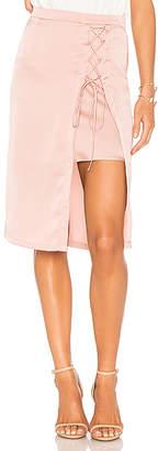 Krisa Layered Lace Up Pencil Skirt